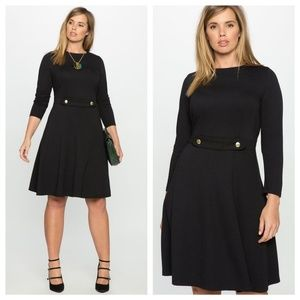 Long Sleeve Fit & Flare Dress with Button Detail